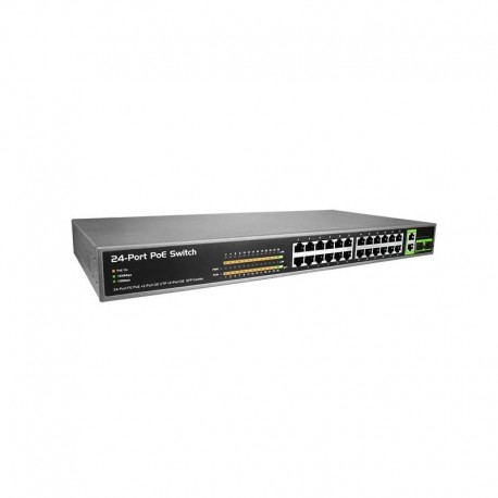26 ports switch with 24 PoE ports with 2 Giga Uplink Ports