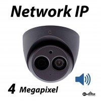 4 Megapixel Turret Dome IR IP Camera 2.8mm Audio Gray